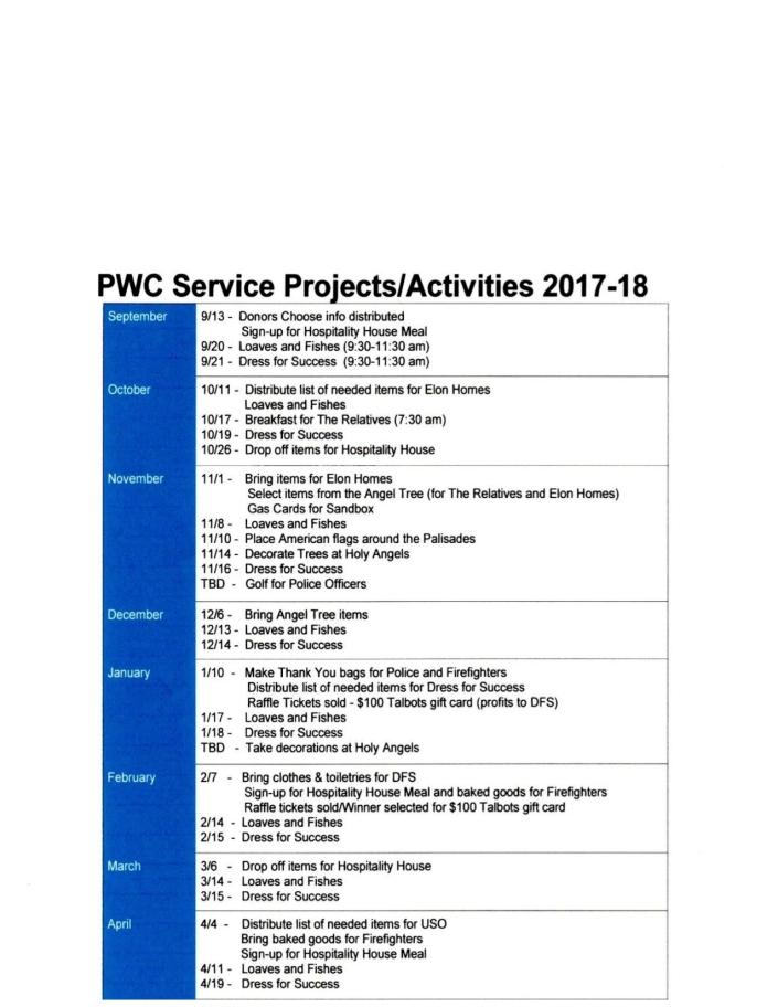 PWC ServiceActivies 2017-18 (2