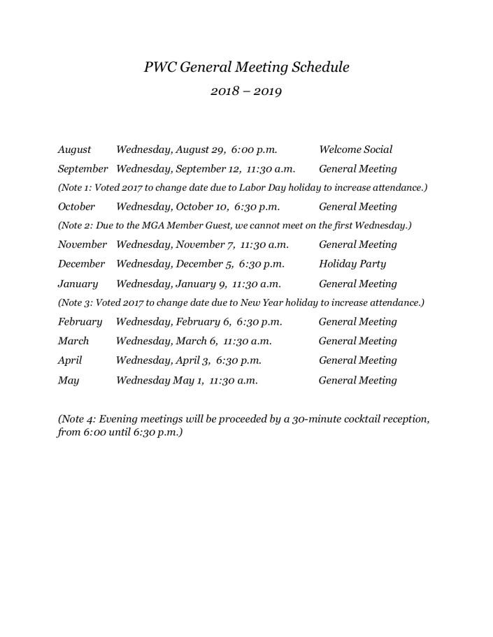 PWC General Meeting Schedule_2018-2109